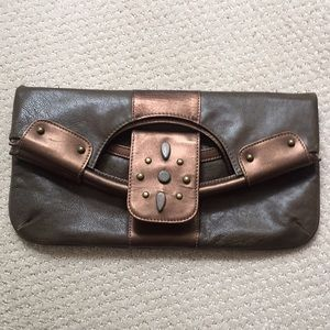 Talbots brown bronze leather clutch purse bag eUC